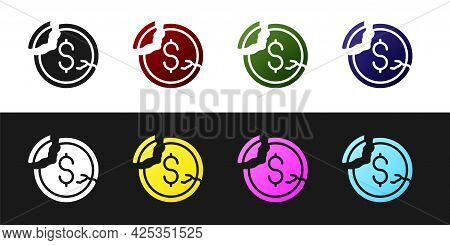 Set Dollar Rate Decrease Icon Isolated On Black And White Background. Cost Reduction. Money Symbol W