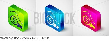 Isometric Dollar Rate Decrease Icon Isolated On Grey Background. Cost Reduction. Money Symbol With D