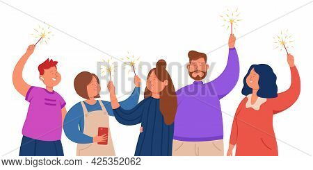 Group Of Happy Friends Standing With Sparklers In Hands. Office Team Celebrating Success Together Fl