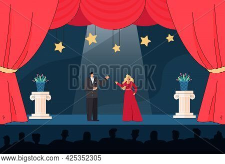 Male And Female Artists Playing On Stage In Front Of Audience. Cartoon Performers In Evening Dresses