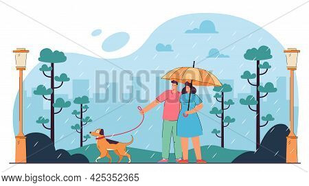 Couple Walking With Dog In Bad, Rainy Weather. Man And Woman Standing Under Umbrella In Park Flat Ve