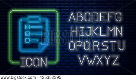 Glowing Neon Clipboard With Checklist Icon Isolated On Brick Wall Background. Control List Symbol. S