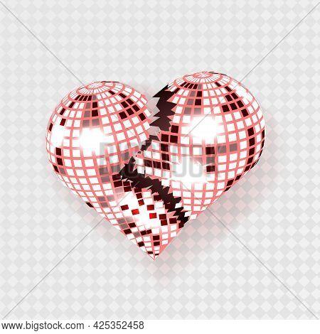 Broken Disco Heart. Purple Mirror Disco Ball In The Shape Of Heart.