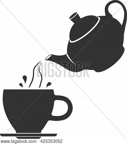 Vector Icon Of A Teapot That Pours Tea With Splashes Into A Cup.