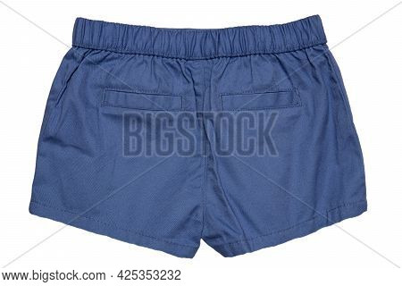Summer Shorts Isolated. Closeup Of An Stylish Fashionable Blue Short Pant For The Little Girl Isolat