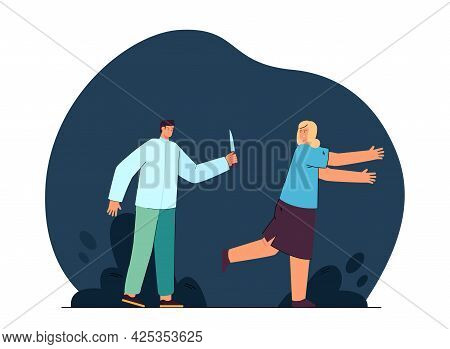Woman Running Away From Maniac With Knife. Killer Chasing Victim At Night Flat Vector Illustration.