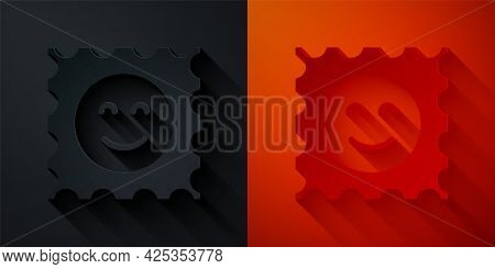 Paper Cut Lsd Acid Mark Icon Isolated On Black And Red Background. Acid Narcotic. Postmark. Postage