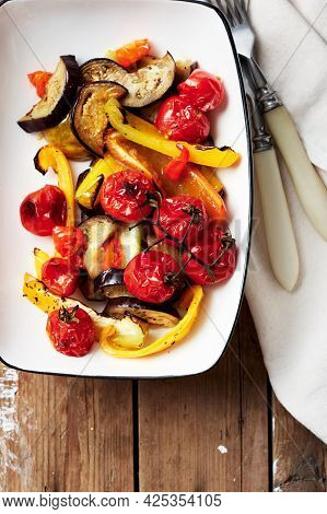 Salad With Roasted Tomatoes, Eggplants, Zucchini, Bell Peppers.