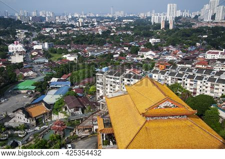 An Aerial View Of Buildings Of The Kek Lok Si Temple Within The City Of Air Itam In Penang Malaysia.