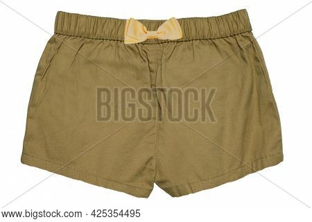 Summer Shorts Isolated. Closeup Of An Stylish Fashionable Mustard Colored Short Pant With A Yellow R