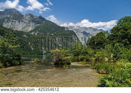 View Of The Obersee Lake Behind The Watzmann Massif, Salet At Koenigssee, Berchtesgaden National Par