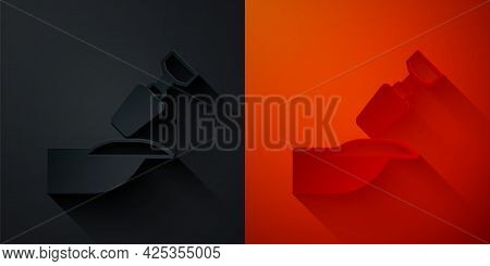 Paper Cut Milling Cutter For Manicure Icon Isolated On Black And Red Background. Apparatus For Manic