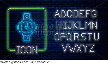 Glowing Neon Diving Watch Icon Isolated On Brick Wall Background. Diving Underwater Equipment. Neon
