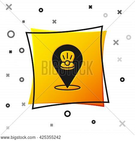 Black Scallop Sea Shell Icon Isolated On White Background. Seashell Sign. Yellow Square Button. Vect