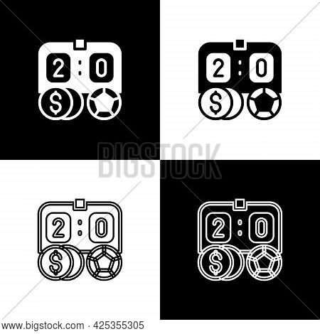 Set Soccer Football Betting Money Icon Isolated On Black And White Background. Football Bet Bookmake