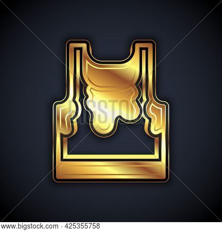 Gold Sweaty Sleeveless Sport T-shirt Icon Isolated On Black Background. Vector