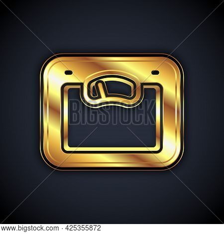 Gold Bathroom Scales Icon Isolated On Black Background. Weight Measure Equipment. Weight Scale Fitne