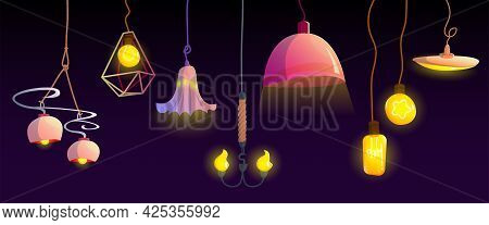 Electric Ceiling Lamps And Light Bulbs Hanging On Wire. Modern And Retro Style Light Equipment For H