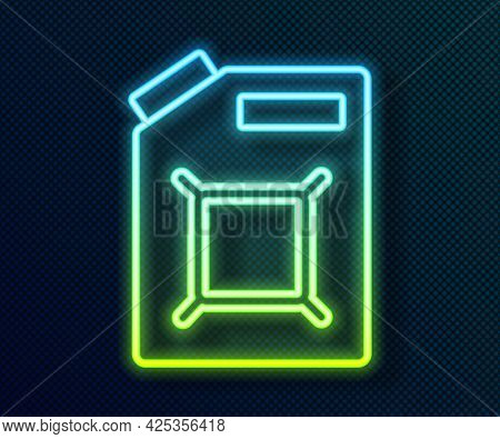 Glowing Neon Line Canister For Gasoline Icon Isolated On Black Background. Diesel Gas Icon. Vector