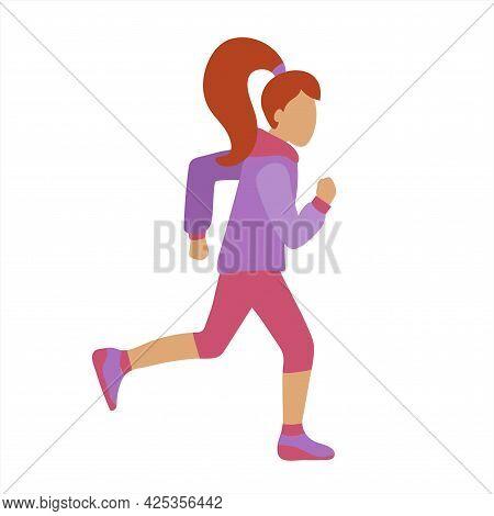 Cartoon Vector Illustration Of Slim Attractive Sportswoman Running On White Background.