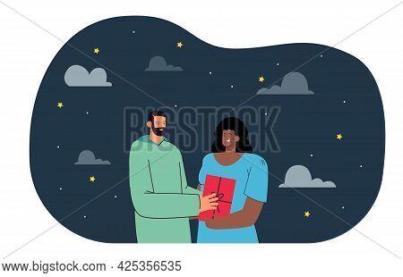 Boyfriend Giving Present To Girlfriend Flat Vector Illustration. Starry Night Sky In Background. Div