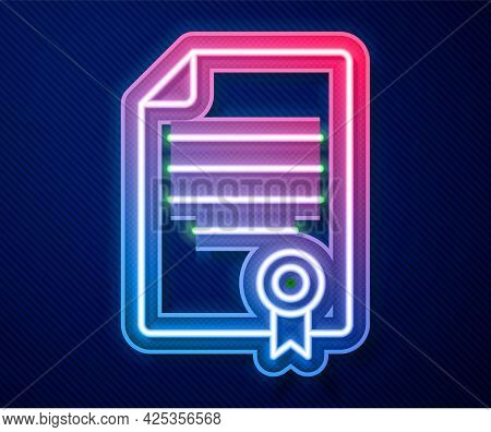 Glowing Neon Line House Contract Icon Isolated On Blue Background. Contract Creation Service, Docume