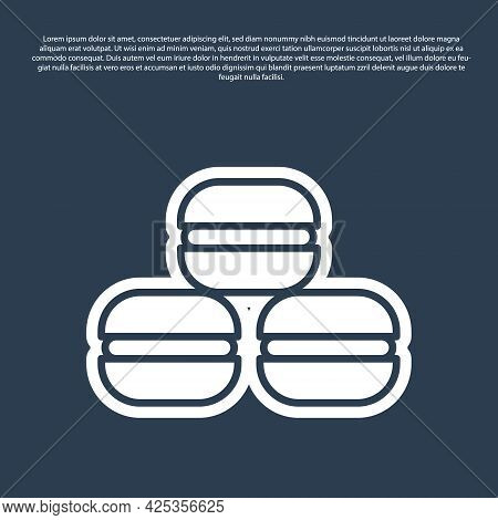 Blue Line Macaron Cookie Icon Isolated On Blue Background. Macaroon Sweet Bakery. Vector