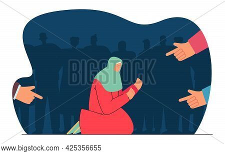 Fingers Pointing At Begging For Charity Woman. Society Condemning Person Flat Vector Illustration. A