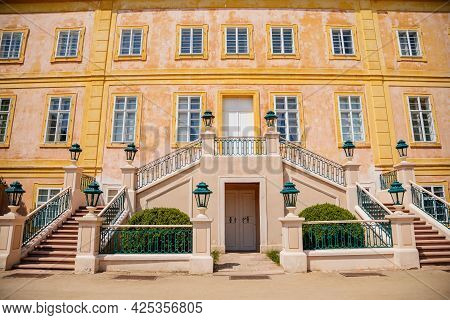 Krasny Dvur Chateau, North Bohemia, Czech Republic, 19 June 2021: Baroque Yellow Castle With Stairs,