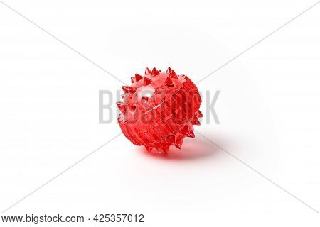 Barbed Red Massage Ball Isolated On White. Alternative Medicine Massage Ball Sujok For Acupressure P