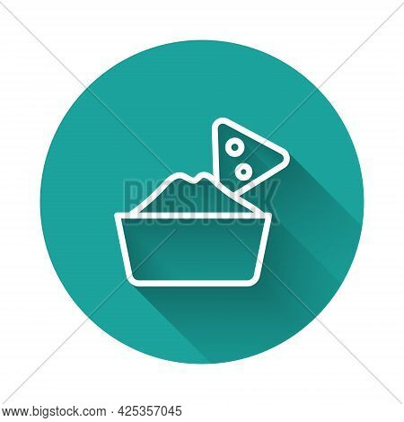 White Line Nachos In Bowl Icon Isolated With Long Shadow Background. Tortilla Chips Or Nachos Tortil