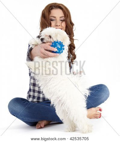 Caucasian young female lying on floor with her pet dog poster