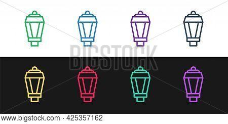 Set Line Garden Light Lamp Icon Isolated On Black And White Background. Solar Powered Lamp. Lantern.