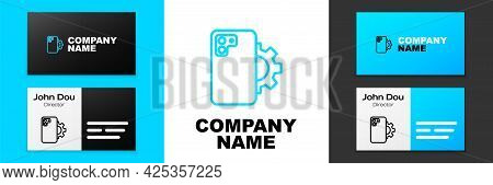 Blue Line Phone Repair Service Icon Isolated On White Background. Adjusting, Service, Setting, Maint