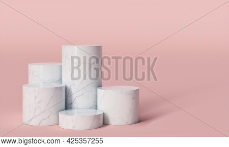 cylindrical pedestals in white marble on a pink background. 3d render.