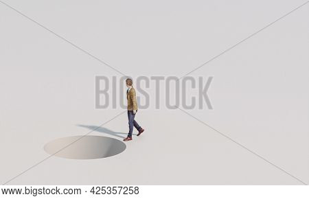 man walks careless of a danger ahead of him. 3d render image and models