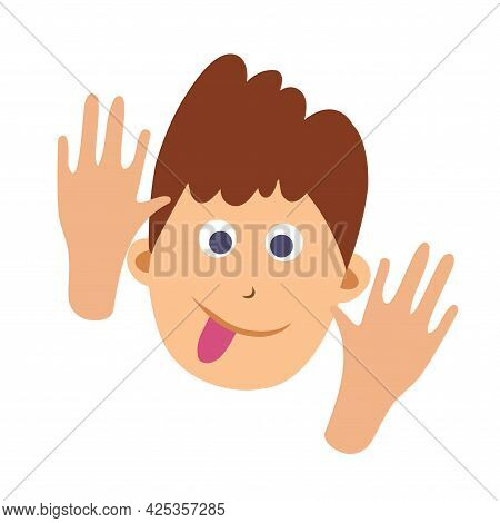 Vector Cartoon Image Of A Little Boy S Face Grimacing And Showing Tongue On White Background. Color
