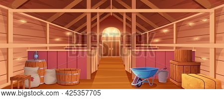 Horse Stable Interior Or Barn For Animals. Farm House Inside View. Empty Wooden Ranch With Stalls, H