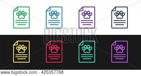 Set Line Clipboard With Medical Clinical Record Pet Icon Isolated On Black And White Background. Hea