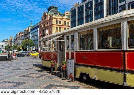 PRAGUE, CZECH REPUBLIC - SEPTEMBER 03, 2019: Famous Tram Café on Wenceslas Square in old historic part of Prague - Czech capital city, famous and popular travel destination.