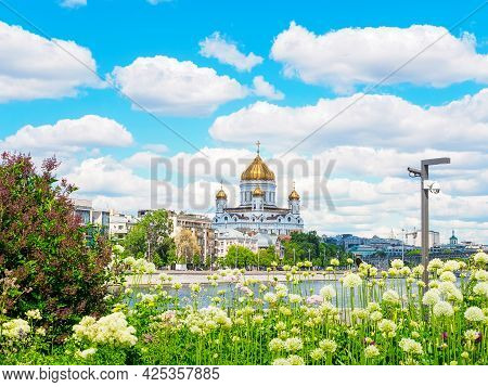 Moscow, Russia - May 25, 2021: View Of The Cathedral Of Christ The Savior From The Yakimanskaya Emba