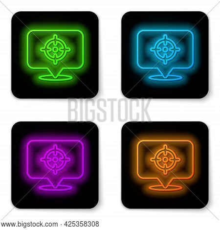 Glowing Neon Line Target Financial Goal Concept Icon Isolated On White Background. Symbolic Goals Ac