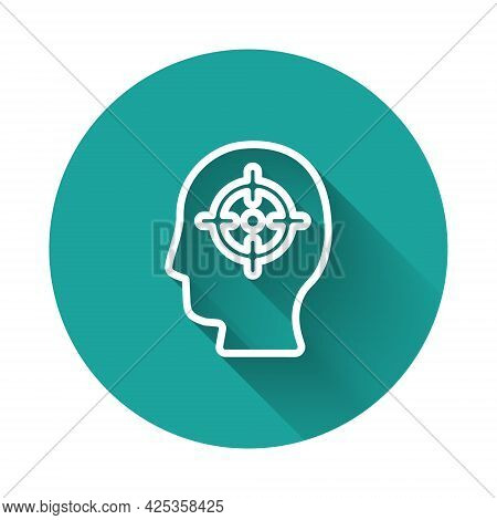 White Line Head Hunting Icon Isolated With Long Shadow Background. Business Target Or Employment Sig