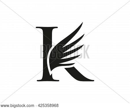 K Letter Logo With Wing. Wing Logo With K Letter Concept