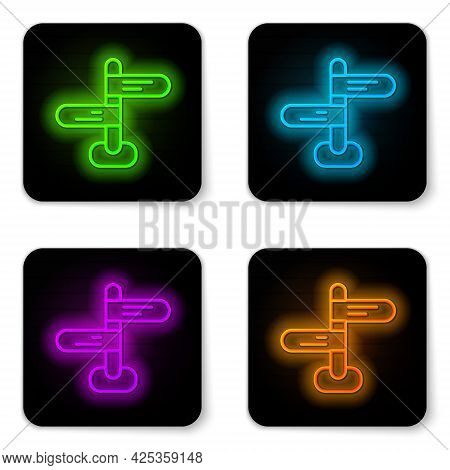 Glowing Neon Line Road Traffic Sign. Signpost Icon Isolated On White Background. Pointer Symbol. Iso