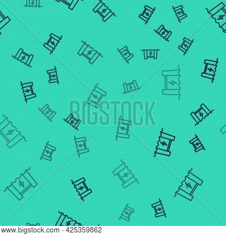 Black Line Hydroelectric Dam Icon Isolated Seamless Pattern On Green Background. Water Energy Plant.