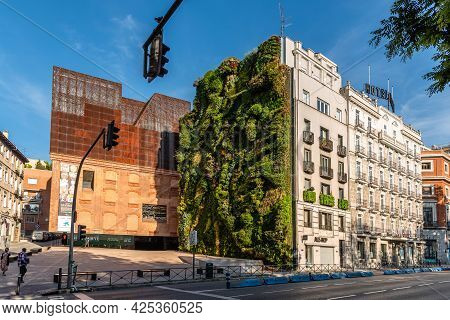 Madrid, Spain - May 8, 2021: Outdoors View Of Caixaforum Madrid, Spain. It Is A Museum And Cultural