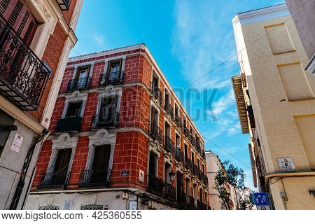 Madrid, Spain - May 8, 2021: Traditional Residential Buildings In Central Madrid. Barrio Of Las Letr