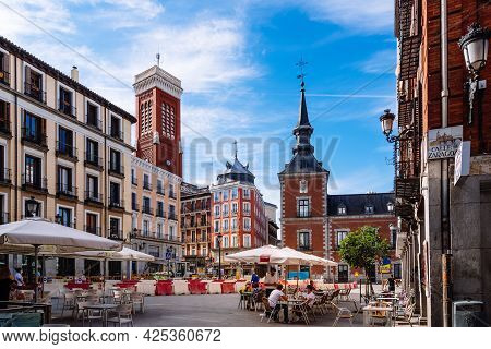Madrid, Spain - May 8, 2021: Cafe In The Square Of Santa Cruz In Historical Centre Of Madrid. Foreig