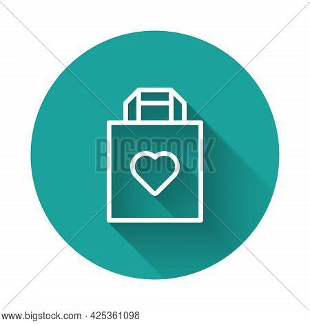 White Line Shopping Bag With Heart Icon Isolated With Long Shadow Background. Shopping Bag Shop Love